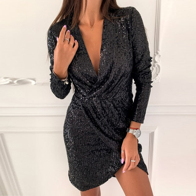 Sexy Silver Glitter Dresses for Women Deep V-Neck Sequin Mini Bodycon Dress