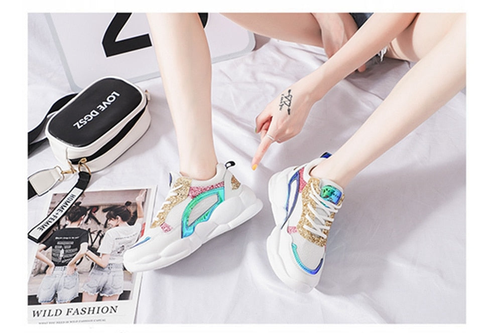Women Casual Shoes Mesh Comfortable Breathable Platform Sneakers