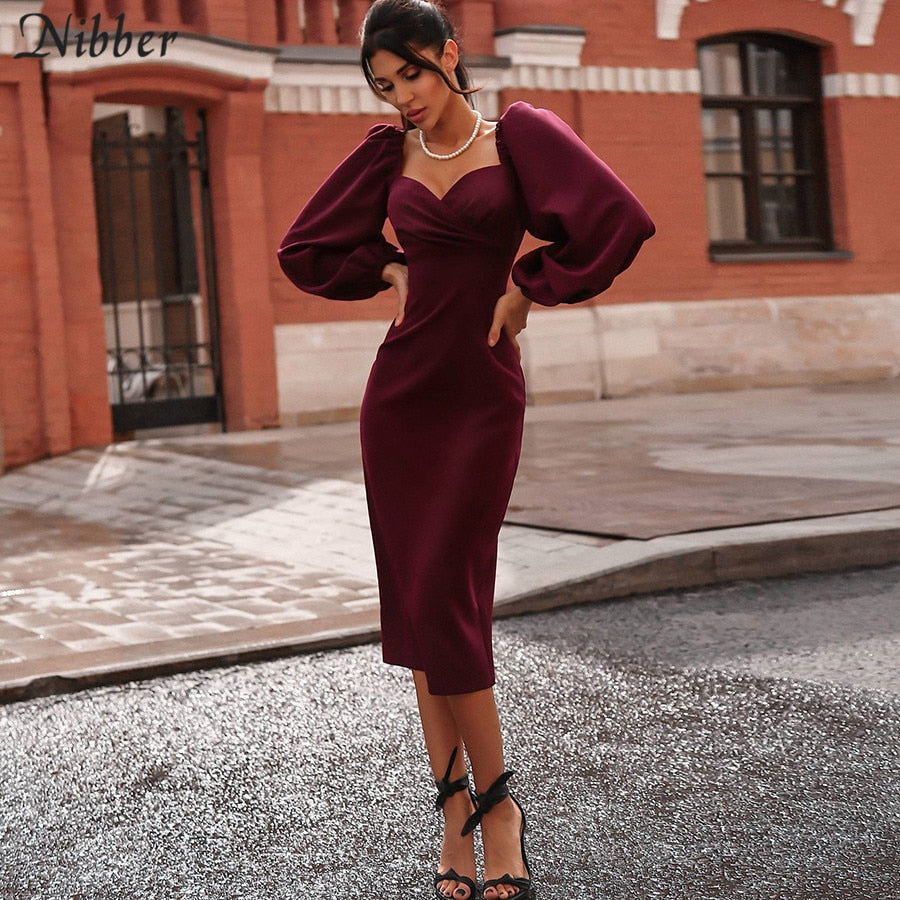 Sexy V Neck off shoulder bodycon elegant midi dress