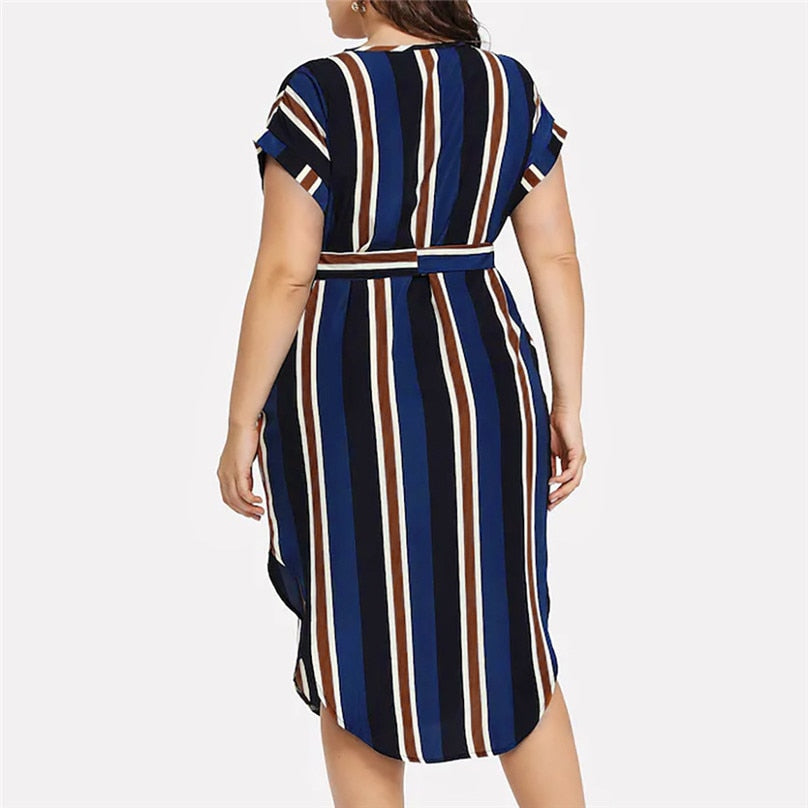 Bandage Striped Dresses Summer Casual Plus Size Print Short Sleeve Sashes V-Neck
