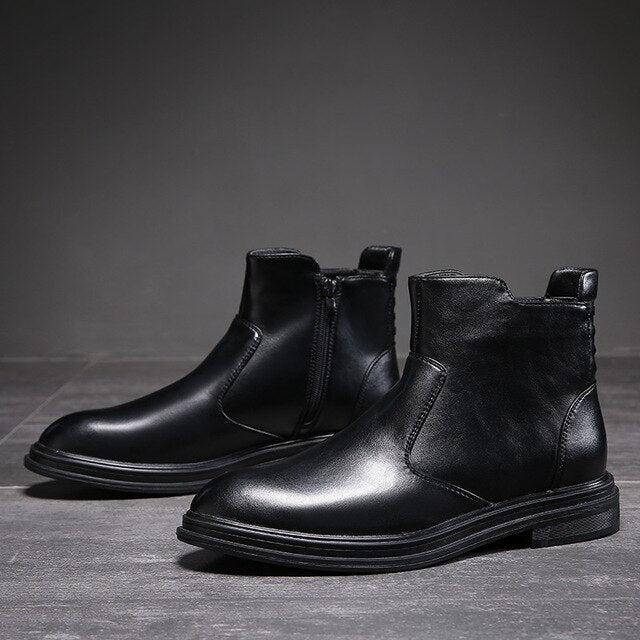 Martins Boots Autumn Winter PU Leather Black Shoes