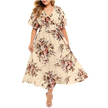 Floral Print V-Neck Casual Dress Women