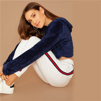 Minimalist Solid Drop Shoulder Crop Teddy Hoodie