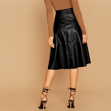 Black Solid Single Breasted Leather Elegant Midi Skirt