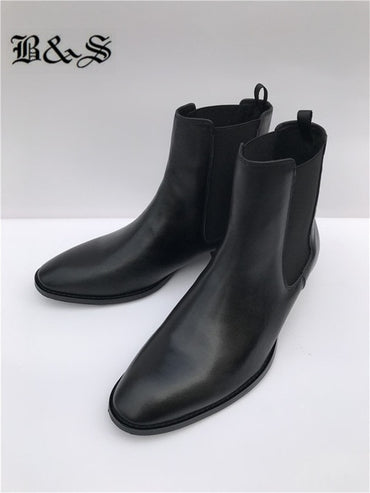 Black& Street Men black cow leather New Wedge Chelsea Boots 3cm Heel