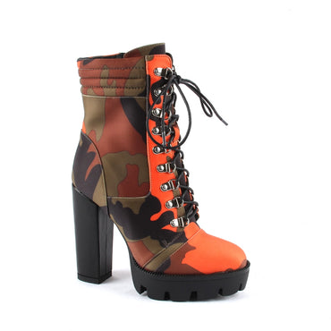 Lace Up Chunky Heel Platform Bootie Camouflage Print Round Toe Block Heel Boots