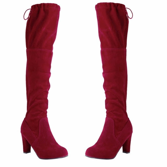 Sexy Thigh High Boots Women High Heel Boots Ladies Over-The-Knee Boots