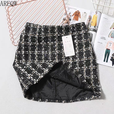 Black Tweed Skirt Autumn Winter Women Korean Elegant Plaid Jupe