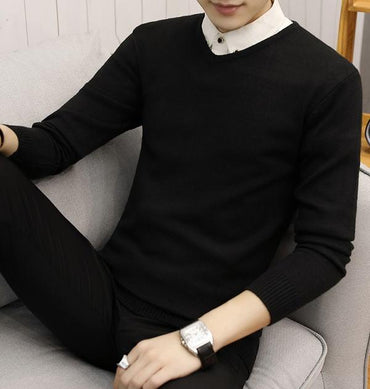 New Slim Knitted Cashmere Wool Sweater Men