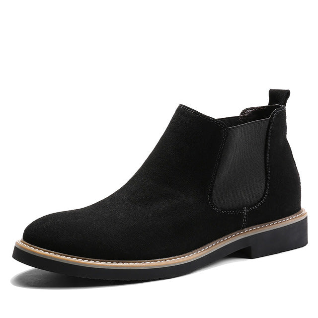 Fashion Leather Men Casual Boots Winter Chelsea Ankle Boots