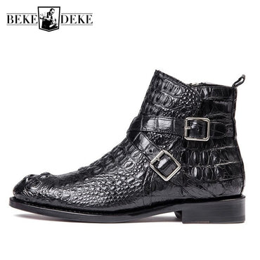 British Style Black Office Genuine Leather High-Top Boots