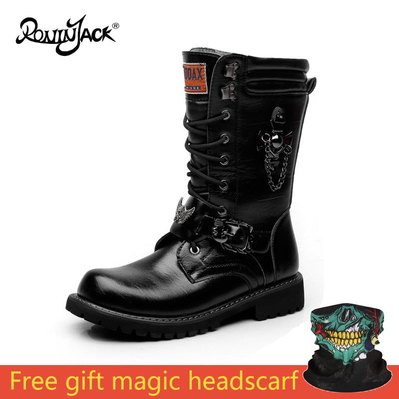 Mid Metal Chain Vintage Motorcycle Punk Boots