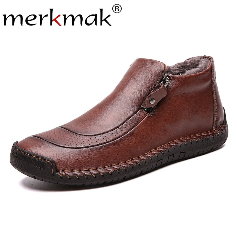 Work Boots Winter Cotton Loafers Cowhide Footwear Warm Cloth Shoes