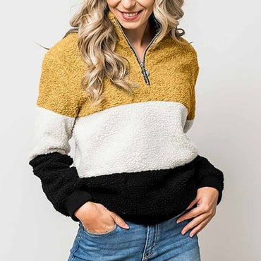 Women Zipper Turtleneck Warm Sweatshirt Patchwork Long Sleeve Fleece