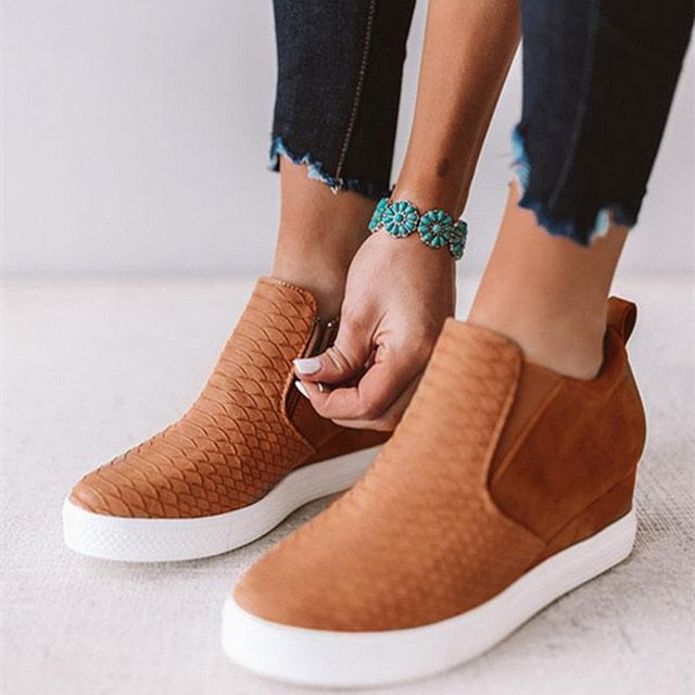 Woman Casual Shoes Leather Within The Higher Pure Fashion Side Zipper Sneakers
