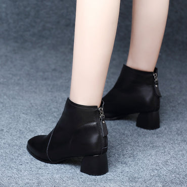 New Women Booties Casual Shoes Women Ankle Boots Zipper Boots
