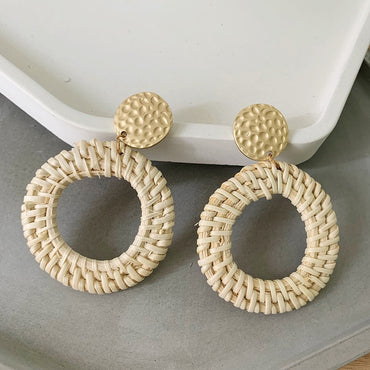 Wicker Rattan Knit Earrings Ethnic Wood Bamboo Weaving for Women