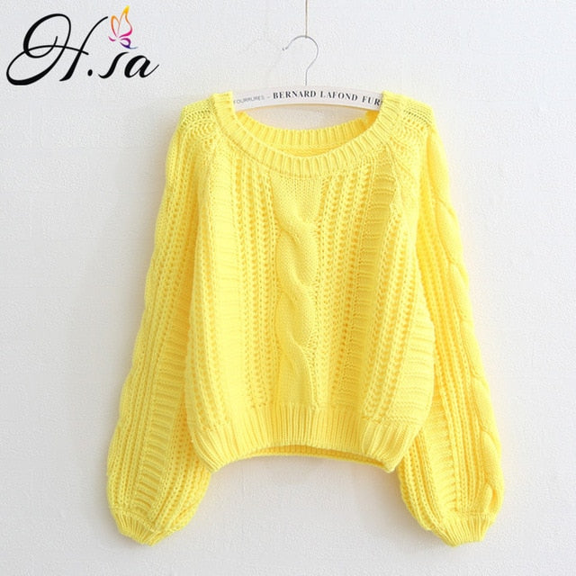 Women Winter Clothes Korean Style Pink Pull Jumpers Solid Chic Short Sweater