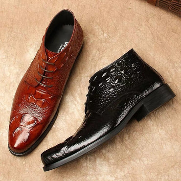 New Men's Crocodile Dress Leather Shoes Lace-Up Wedding Party