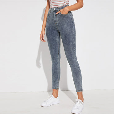 Grey Zipper Fly Bleach Wash Skinny Casual Jeans Women Bottoms