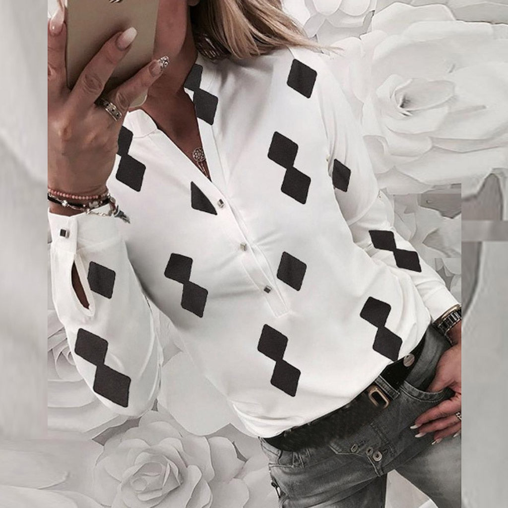 Blouses Woman Blusa Fashion Casual Tops Geometric Print Long Sleeve Button Polyester