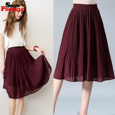 Women Chiffon Skirt Summer Thin Solid Pleated