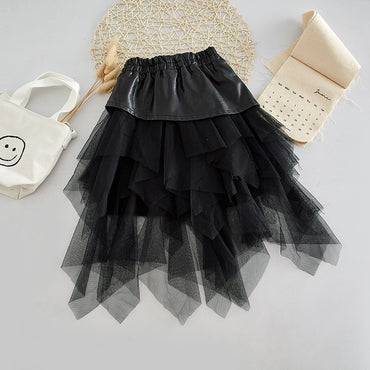 Spring Autumn girls tutu skirt baby PU skirt