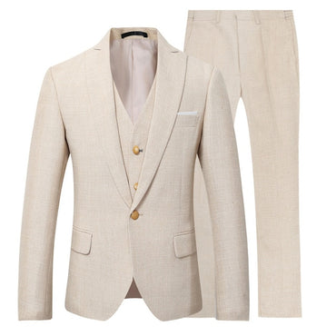 New Men Suit 3 Pieces Party Dress Yellow Linen Suits Tuxedo