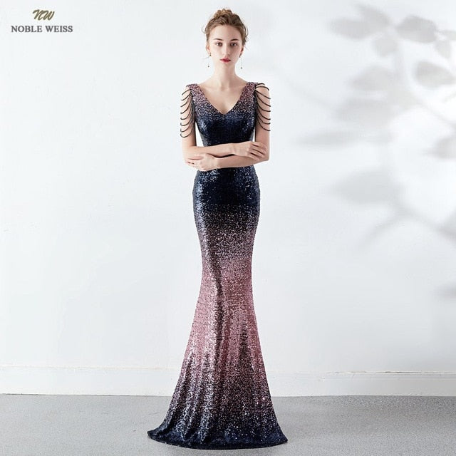 Prom dress v-neck sexy sequin zipper back floor length prom gown evening party dress