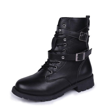 New Buckle Winter Motorcycle Boots Women British Style Ankle Boots