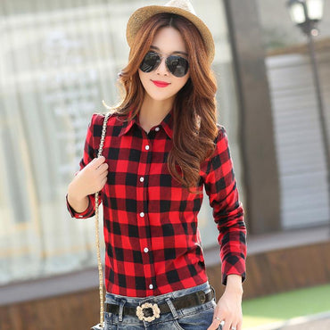 New Brand Women Blouses Long Sleeve Shirts Cotton Red and Black