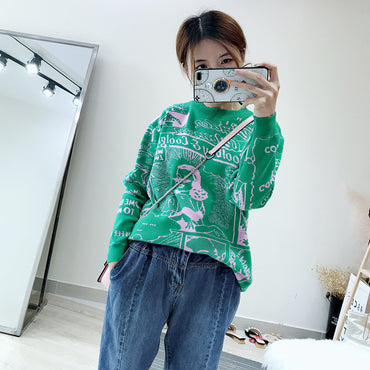Women Sweaters Korean Casual O Neck Long Sleeve Pullovers Basic