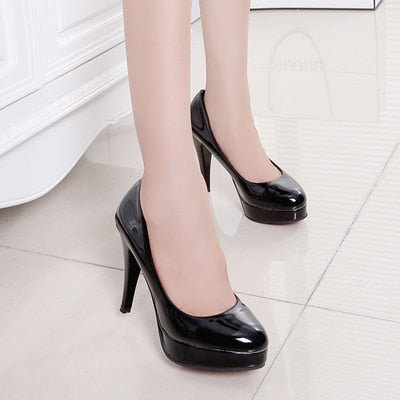 Shallow Mouth Single Shoes Black Work Shoes Sexy High Heels