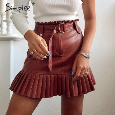 Sash Belt PU Leather Women Skirt Ruffled High Waist