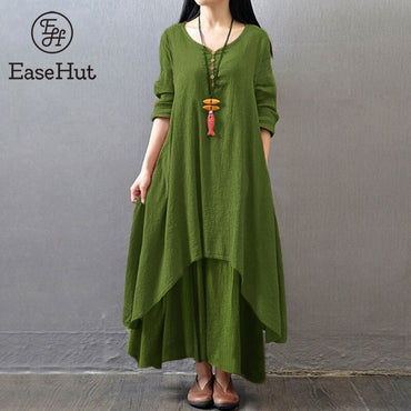 Vintage Women Casual Loose Dress Solid Long Sleeve Boho Ethnic Autumn Long Maxi Dresses
