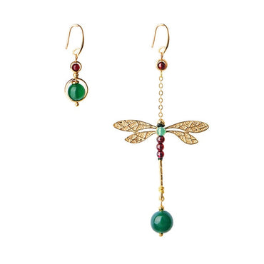 Vintage earrings asymmetrical Long Green Stone Dragonfly Earrings for Women