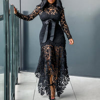Vintage Party Sexy Black Lace Long Dress