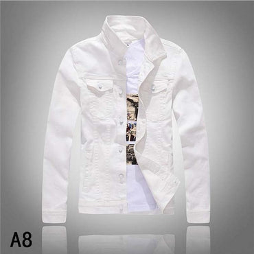 New Fashion Men Denim Jacket Cowboy White Jeans Jacket Men C