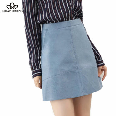 Winter high waist Skrit PU faux leather women skirt