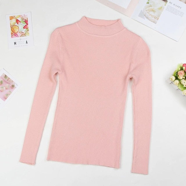 Winter Women Knitted Turtleneck Sweater Fall Casual Slim Sweaters