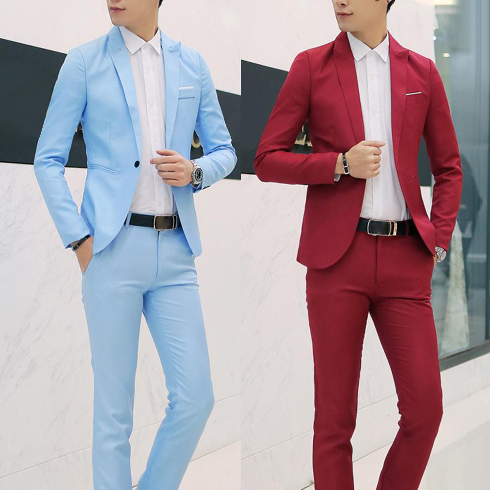 Fashion Mens Suits with Pants Solid Men's Blazer Slim and Fits Wedding