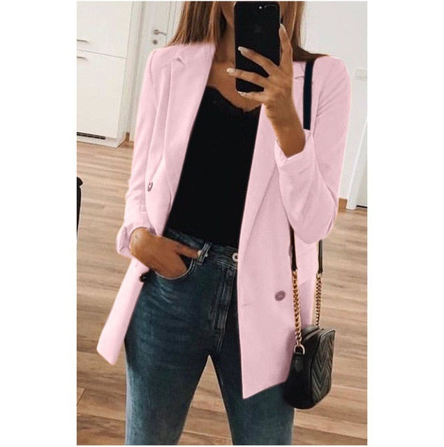 Womens Jacket Autumn Winter Office Ladies Clothes Long