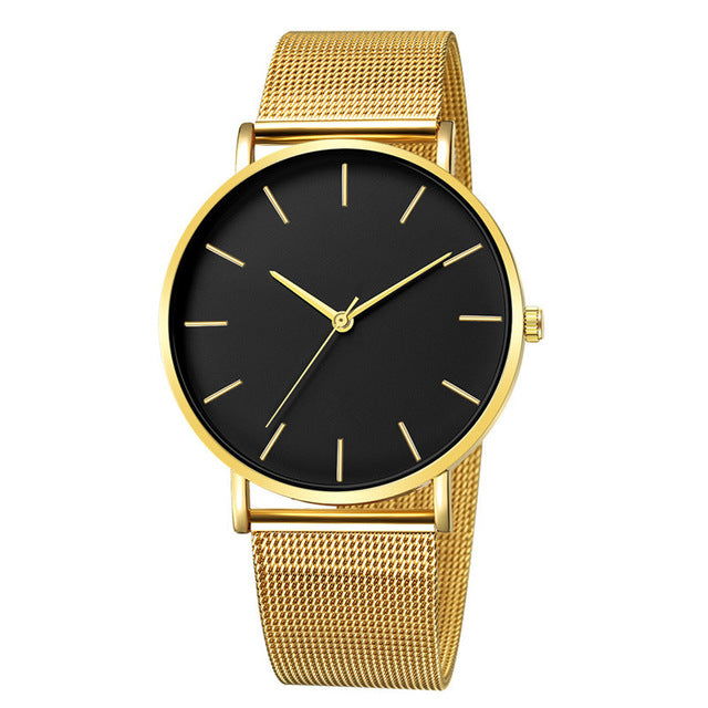 Men Watch Quartz Casual Watches Simple Metal Hour Reloj Quartz
