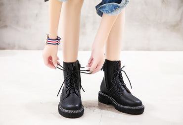 Martin Boots Female 2020 Autumn New Genuine Leather Women Booties