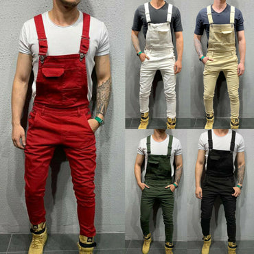 Mens Denim Dungaree Bib Overalls Jumpsuits Moto Biker Jeans Pants