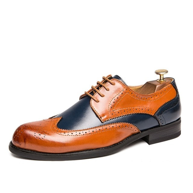 Oxford Shoes Fashion Hollw Brogue Men Leather Formal Dress Shoes