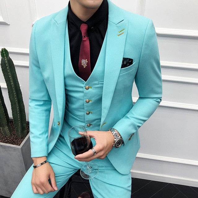 3PC Blue Suit Men Brand New Slim Fit Business Formal Wear Tuxedo High Quality