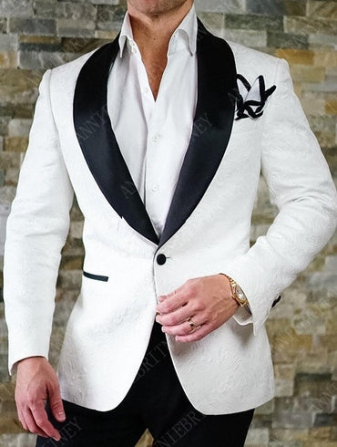 New White Jacquard Men's Suits Set Slim Fit Groom Tuxedo for Wedding