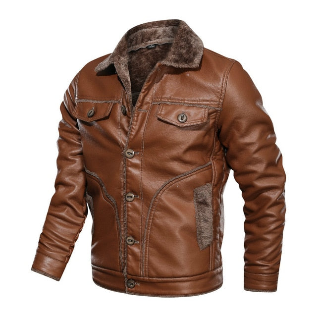 Winter New Men's Leather Jacket Casual Plus Velvet PU Leather Large Size M-8XL