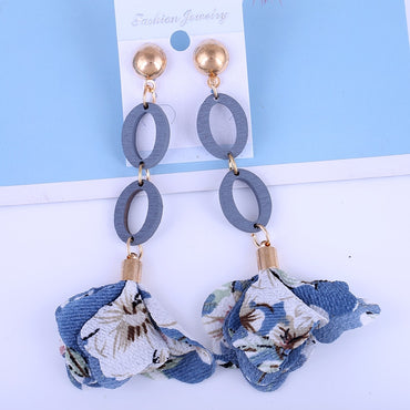 Women Cloth Tassel Drop Earrings Long Earrings Fashion 2020
